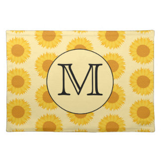 Custom Monogram, with Yellow Sunflowers. Cloth Placemat