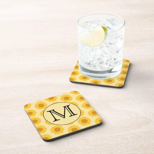 Custom Monogram, with Yellow Sunflowers. Coasters