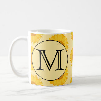 Custom Monogram, with Yellow Sunflowers. Coffee Mug