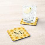 Custom Monogram, with Yellow Sunflowers. Drink Coaster