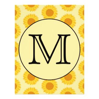 Custom Monogram with Yellow Sunflowers Full Color Flyer