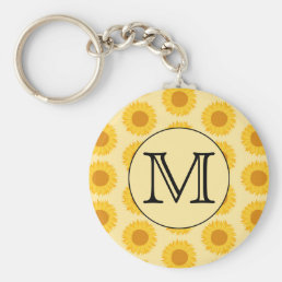 Custom Monogram, with Yellow Sunflowers. Keychain