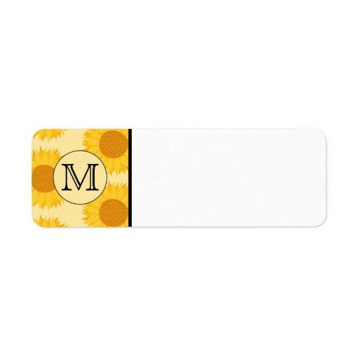 Custom Monogram, with Yellow Sunflowers. Label