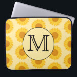 "Custom Monogram, with Yellow Sunflowers. Laptop Sleeve<br><div class=""desc"">A pattern of yellow sunflowers with a monogram design. The monogram initial letter is on a light yellow and black circle. The initial letter can be changed to personalize this item. A nice floral design.</div>"
