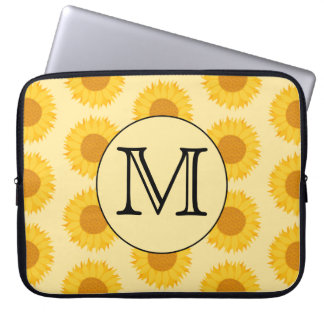 Custom Monogram, with Yellow Sunflowers. Laptop Sleeve