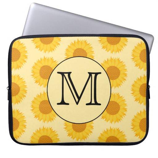 Custom Monogram, with Yellow Sunflowers. Computer Sleeve