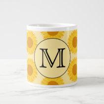 Custom Monogram, with Yellow Sunflowers. Large Coffee Mug