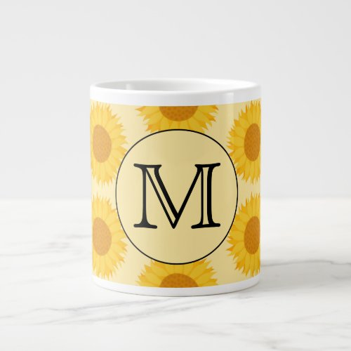 Custom Monogram, with Yellow Sunflowers. Large Coffee Mug