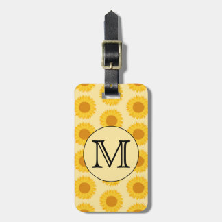 Custom Monogram, with Yellow Sunflowers. Travel Bag Tags