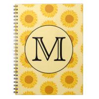 Custom Monogram, with Yellow Sunflowers. Notebook