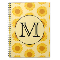 Custom Monogram, with Yellow Sunflowers. Notebook