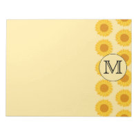 Custom Monogram, with Yellow Sunflowers. Notepad