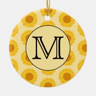 Custom Monogram with Yellow Sunflowers Christmas Ornaments