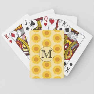 Custom Monogram, with Yellow Sunflowers. Playing Cards