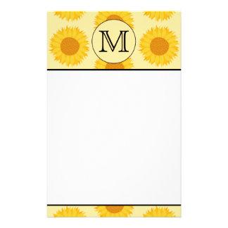 Custom Monogram, with Yellow Sunflowers. Stationery