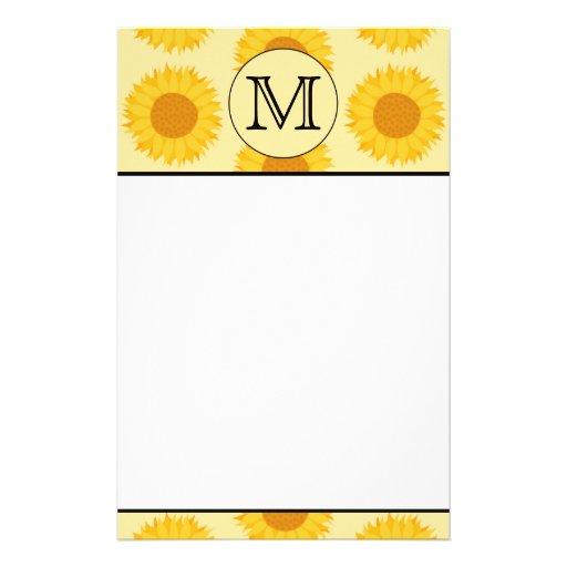 Custom Monogram, with Yellow Sunflowers. Stationery Design
