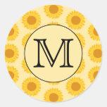 Custom Monogram, with Yellow Sunflowers. Classic Round Sticker