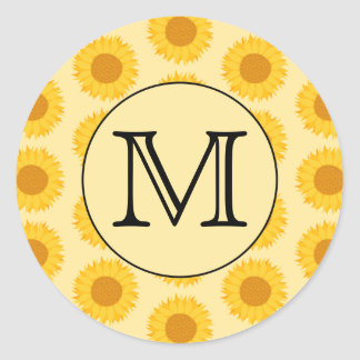 Custom Monogram, with Yellow Sunflowers. Stickers