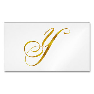 Custom Monogram Y Faux Gold Foil Monograms Initial Magnetic Business Cards (Pack Of 25)