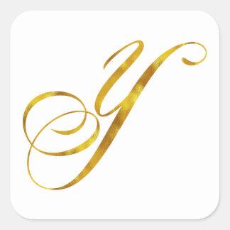 Custom Monogram Y Faux Gold Foil Monograms Initial Square Sticker
