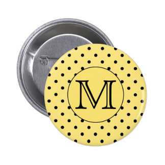 Custom Monogram Yellow and Black Polka Dot Pattern 2 Inch Round Button