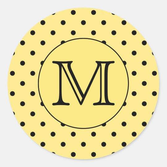 Custom Monogram Yellow and Black Polka Dot Pattern Classic Round Sticker