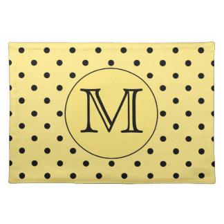 Custom Monogram Yellow and Black Polka Dot Pattern Cloth Placemat