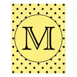 Custom Monogram Yellow and Black Polka Dot Pattern Custom Flyer