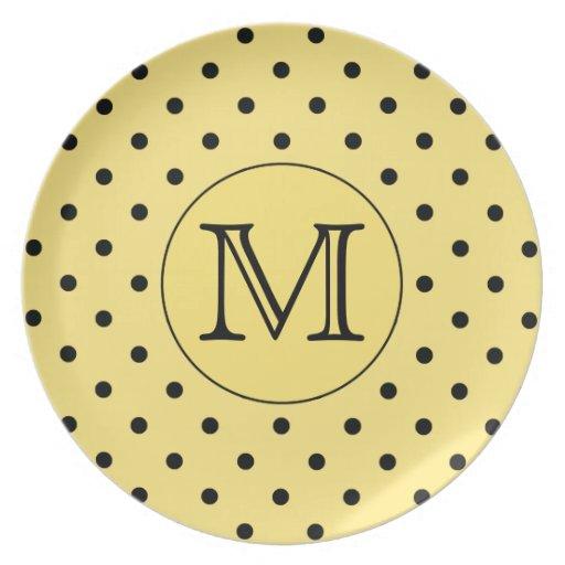 Custom Monogram Yellow and Black Polka Dot Pattern Plate