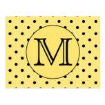 Custom Monogram Yellow and Black Polka Dot Pattern Postcards
