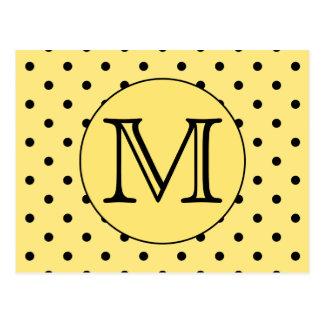 Custom Monogram Yellow and Black Polka Dot Pattern Postcard