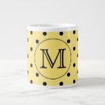 Custom Monogram Yellow and Black Polka Dot Pattern Jumbo Mugs