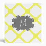 Custom Monogram Yellow and White Art Deco Pattern Binders
