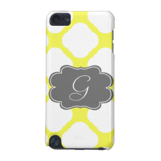 Custom Monogram Yellow and White Art Deco Pattern iPod Touch 5G Covers