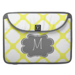 Custom Monogram Yellow and White Art Deco Pattern MacBook Pro Sleeve
