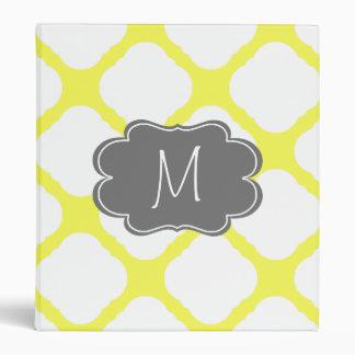 Custom Monogram Yellow and White Art Deco Pattern Vinyl Binder