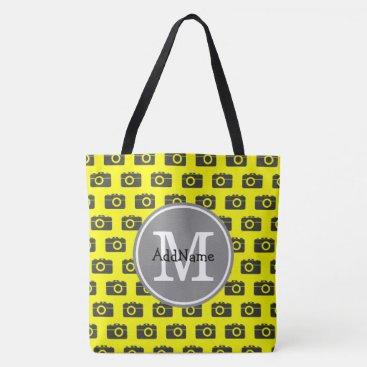 PersonalizedGifts8 Custom Monogram Yellow & Black Camera Pattern Tote Bag