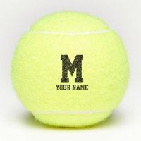Custom monogram yellow tennis balls with name