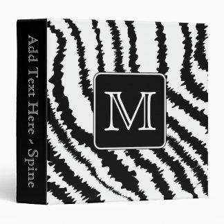 Custom Monogram, Zebra Pattern Animal Print. Binder