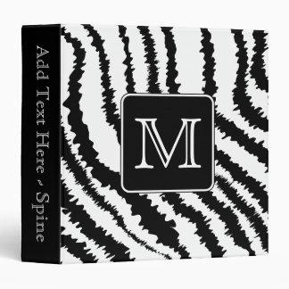 Custom Monogram, Zebra Pattern Animal Print. Binder
