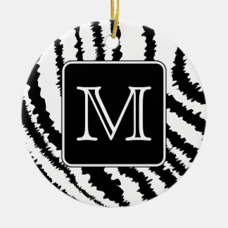 Custom Monogram, Zebra Pattern Animal Print. Ceramic Ornament