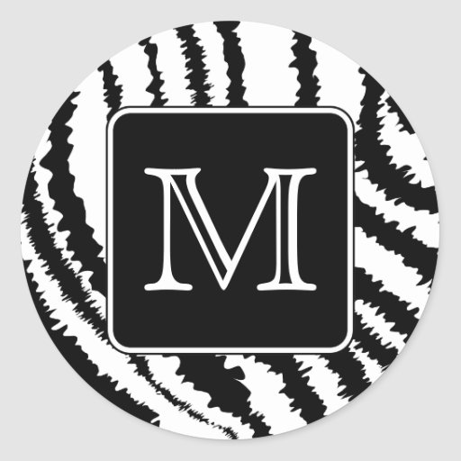 Custom Monogram, Zebra Pattern Animal Print. Classic Round Sticker