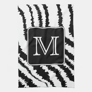 Custom Monogram, Zebra Pattern Animal Print. Hand Towels