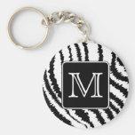 Custom Monogram, Zebra Pattern Animal Print. Key Chains