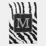 Custom Monogram, Zebra Pattern Animal Print. Kitchen Towel