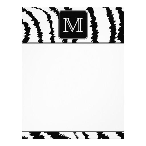 Custom Monogram, Zebra Pattern Animal Print. Letterhead Design
