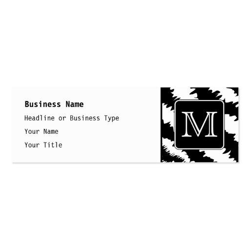 Custom Monogram, Zebra Pattern Animal Print. Mini Business Card