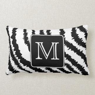 Custom Monogram, Zebra Pattern Animal Print. Pillow