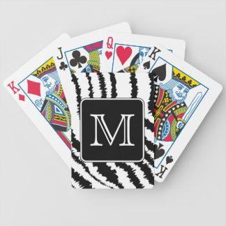 Custom Monogram Zebra Pattern Animal Print Poker Deck