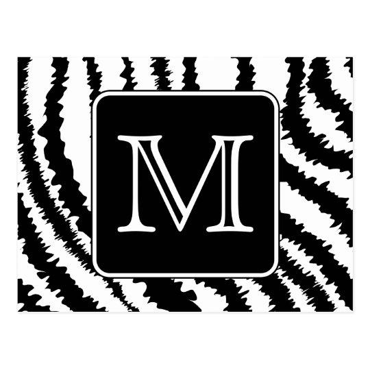 Custom Monogram, Zebra Pattern Animal Print. Postcard